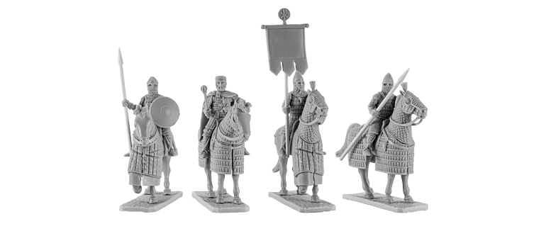 Byzantine emperor with generals and standard bearer