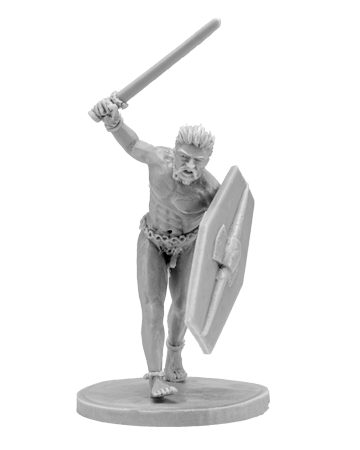 Naked fanatic gallic warrior