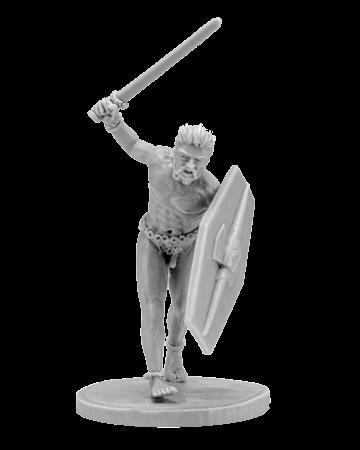 Naked fanatic gallic warrior