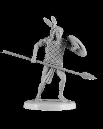 Aztec warrior holding spear