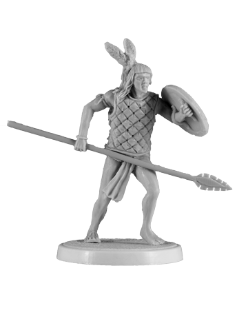 Aztec warrior holding spear